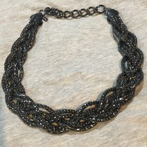 "Express 20"" black jet braided necklace"